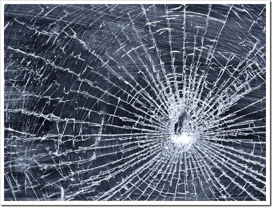 web in broken glass