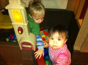 Godson Gabe (left) and goddaughter Kai (right), ca. Jan. 2013.