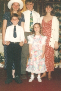 Erika (left), Erik (center), and Laurie (right) with goddaughter Katie and her brother Sean, ca. ~1992.