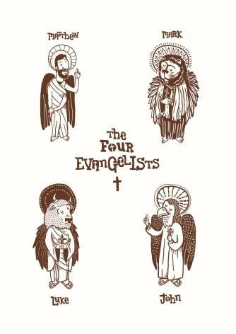 Each of the four evangelists, depicted in traditional Christian iconography as the winged creatures of Ezekiel 1.