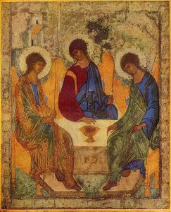 "The Holy Trinity by St. Andrei Rublev, using the theme of the ""Hospitality of Abraham."" The three angels symbolize the Trinity, which is rarely depicted directly in Orthodox art."