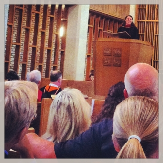 My god-daughter, Katie Russell, gives her testimony at Vanderbilt Divinity School's baccalaureate service.