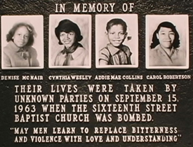 The four girls killed in the 1963 bombing of the 16th St. Baptist Church in Birmingham, AL.