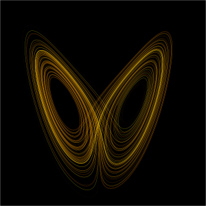 A plot of the Lorenz attractor for values, a visual representation of chaos theory that looks remarkable like ... a butterfly.