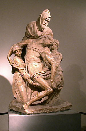 Nicodemus helping to take down Jesus' body from the cross, Michelangelo Pieta.