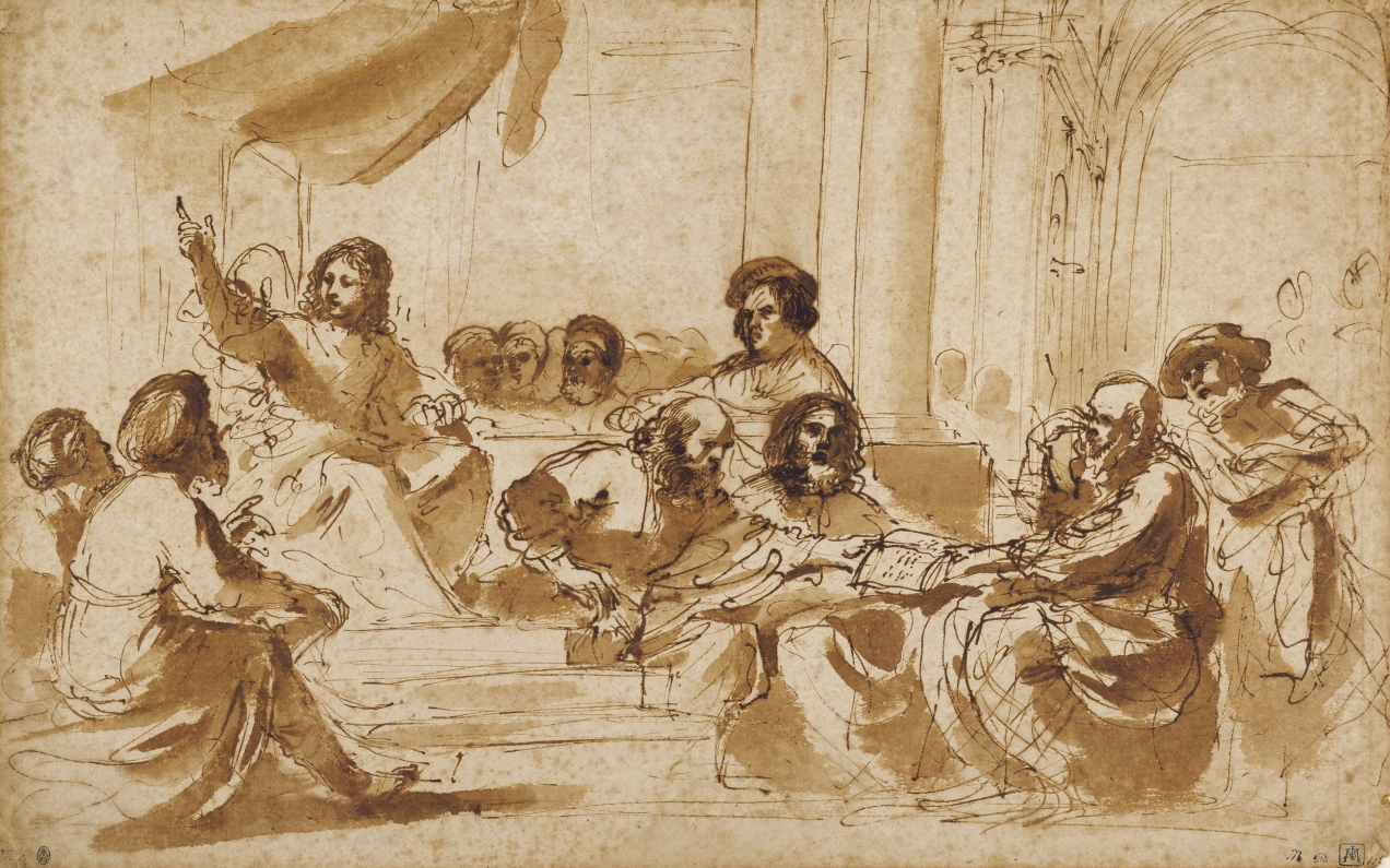 Guercino (Giovanni Francesco Barbieri) (Italian (Bolognese), 1591 - 1666) Christ Preaching in the Temple, about 1625 - 1627, Pen and brown ink, brush with brown wash 26.8 x 42.4 cm (10 9/16 x 16 11/16 in.) The J. Paul Getty Museum, Los Angeles