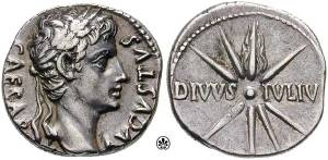 "This Roman currency minted ca. 18 B.C. shows an image of Caesar with the Latin inscription ""divi filius"" or ""Son of God."""